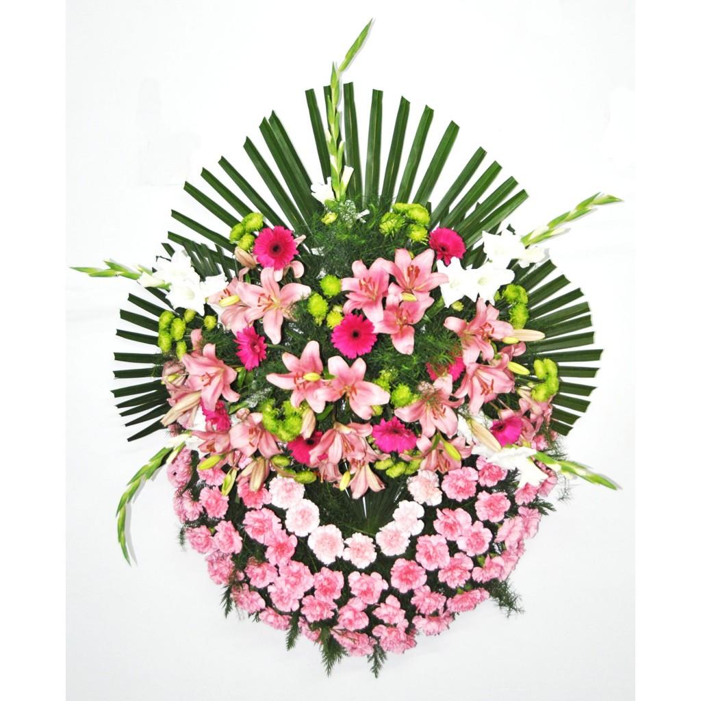 corona de lilium rosa
