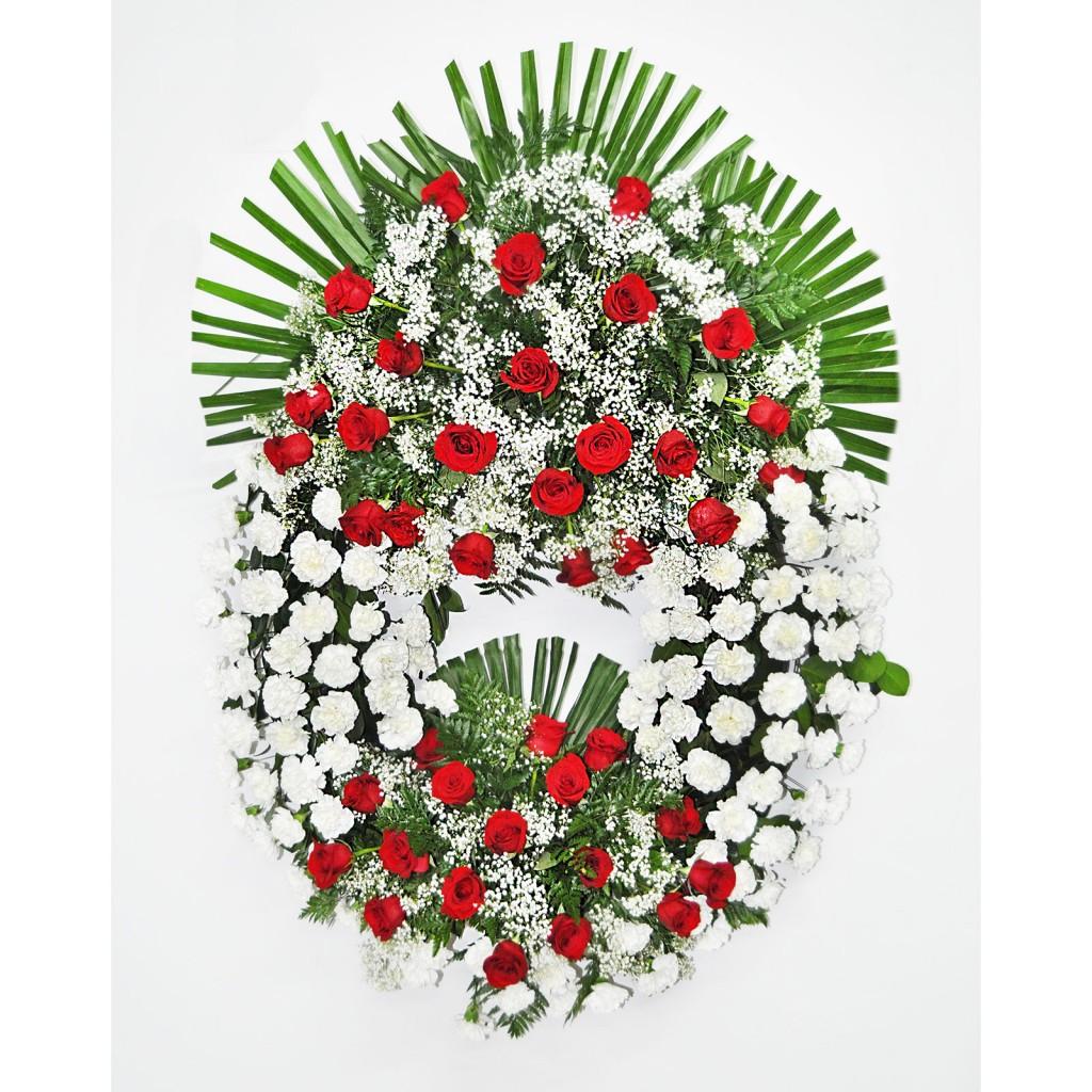 Corona de rosas rojas con dos cabezales
